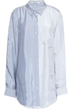 T by ALEXANDER WANG Paneled striped woven shirt