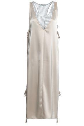 ALEXANDERWANG.T Lace-up layered satin and striped twill midi dress