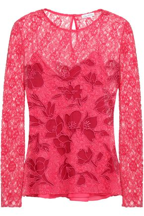 OSCAR DE LA RENTA Embroidered corded lace top
