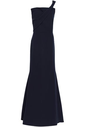 ROLAND MOURET One-shoulder wool-crepe gown