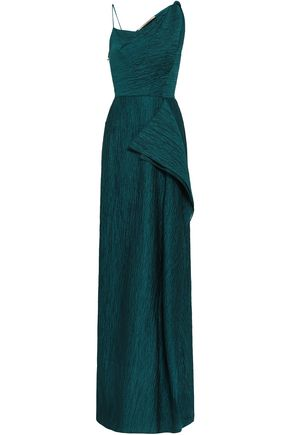 ROLAND MOURET Draped crinkled cotton-blend gown