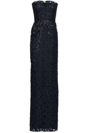 ROLAND MOURET Strapless metallic fil coupé organza gown