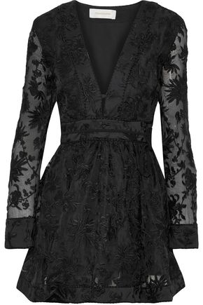 ZIMMERMANN Embroidered silk-organza mini dress