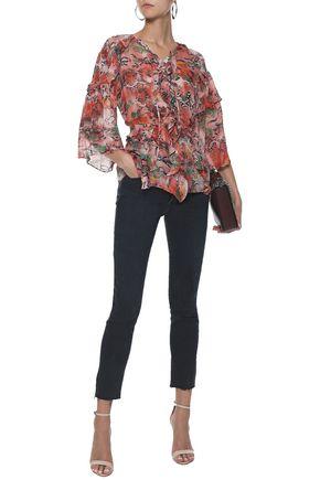 IRO Reopam open-back ruffle-trimmed printed chiffon blouse