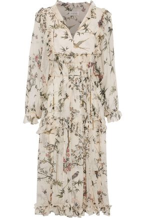 ZIMMERMANN Maples ruffled printed silk-georgette midi dress