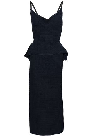 ROLAND MOURET Lace-paneled embroidered cotton-blend twill peplum midi dress