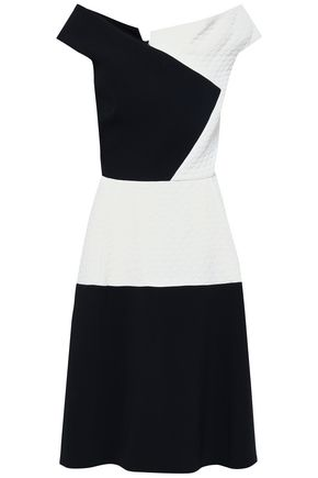 ROLAND MOURET Flared paneled crepe and cloqué dress