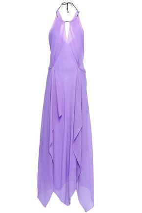 ROLAND MOURET Draped silk-georgette halterneck gown