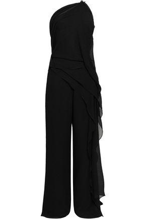 ROLAND MOURET One-shoulder cutout crinkled silk jumpsuit