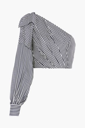 ZIMMERMANN Maples Bow cropped one-shoulder striped ottoman top