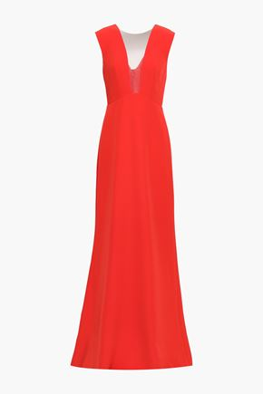 MONIQUE LHUILLIER Bow-detailed tulle-paneled crepe gown