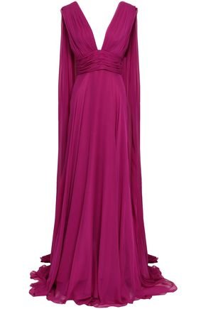 MONIQUE LHUILLIER Open-back draped silk-chiffon gown