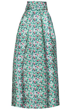 MONIQUE LHUILLIER Flared floral-print duchesse satin-twill maxi skirt