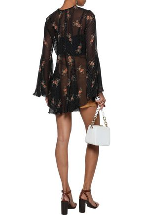 ZIMMERMANN Floral-print flocked silk-blend georgette blouse