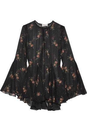 ZIMMERMANN Floral-print flocked silk-blend georgette blouse