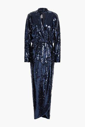 MONIQUE LHUILLIER Wrap-effect sequined tulle gown
