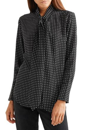 EQUIPMENT Luis pussy-bow polka-dot washed-silk blouse