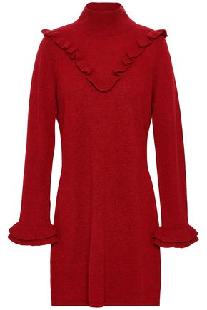 REBECCA MINKOFF Ruffled wool and yak-blend mini dress