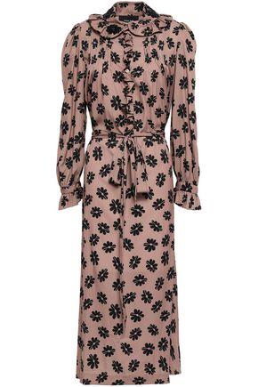 SIMONE ROCHA Floral-print crepe de chine midi shirt dress