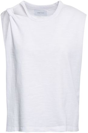 CURRENT/ELLIOTT Cutout knotted cotton-jersey tank