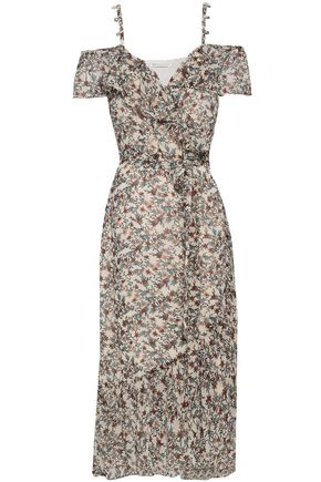 REBECCA MINKOFF Cold-shoulder floral-print crepe midi wrap dress