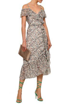 REBECCA MINKOFF Cold-shoulder floral-print crepe midi wrap dress