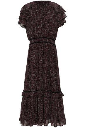 REBECCA MINKOFF | Rebecca Minkoff Tiered Floral-Print Crepe Midi Dress | Goxip