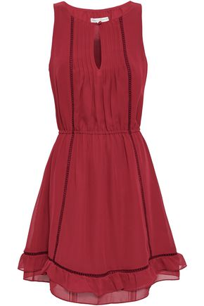 REBECCA MINKOFF Lorena lattice-trimmed crepe de chine mini dress