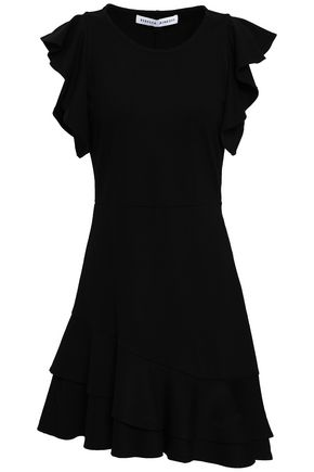 REBECCA MINKOFF Cutout ruffled linen-blend mini dress