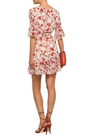 REBECCA MINKOFF Wendy wrap-effect floral-print gauze mini dress