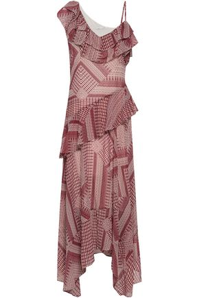 REBECCA MINKOFF Ruffled printed crepe midi dress