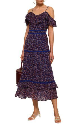 REBECCA MINKOFF Cold-shoulder floral-print crepe midi dress