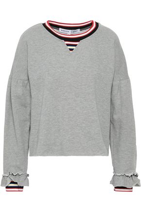 REBECCA MINKOFF Striped cotton-blend fleece sweatshirt