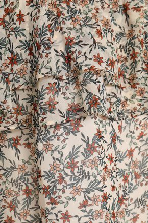 REBECCA MINKOFF Jamie cold-shoulder tiered floral-print gauze top
