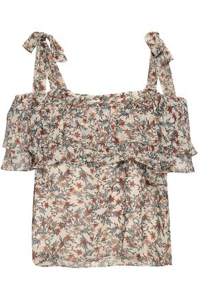 REBECCA MINKOFF Jamie cold-shoulder tiered floral-print gauze top