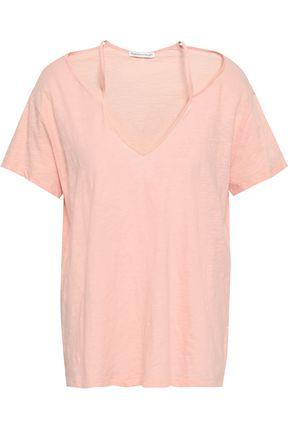 REBECCA MINKOFF Cutout slub cotton-jersey T-shirt