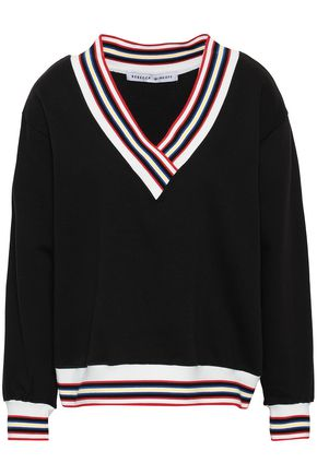 REBECCA MINKOFF Kristine striped cotton-blend fleece sweatshirt