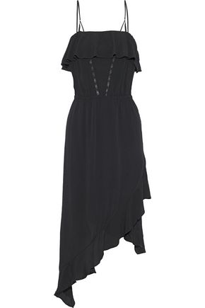 IRO Bayley asymmetric ruffled washed-crepe midi dress