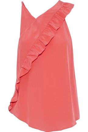 IRO Blonie ruffle-trimmed washed-silk top