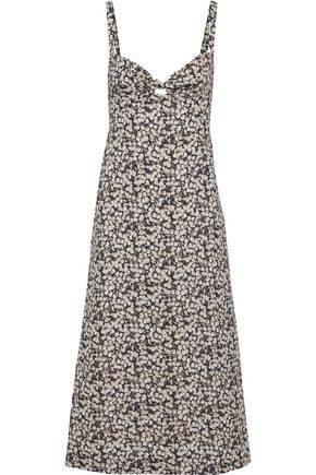 ZIMMERMANN Prima Cherry knotted printed linen and cotton-blend midi dress