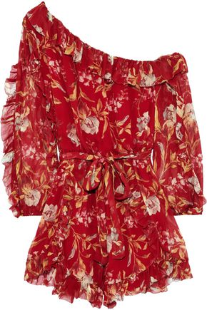 ZIMMERMANN Corsair Iris one-shoulder floral-print silk-georgette playsuit