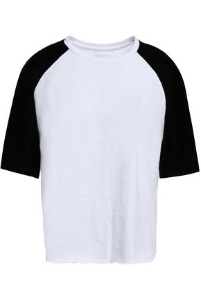 CURRENT/ELLIOTT Velvet-paneled cotton-jersey T-shirt