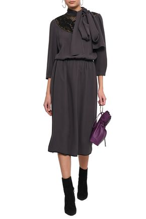 MARC JACOBS Pussy-bow lace-paneled silk-crepe midi dress