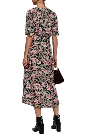 W118 by WALTER BAKER Wrap-effect floral-print ruched chiffon dress