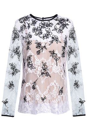 OSCAR DE LA RENTA Embroidered cotton-blend lace top