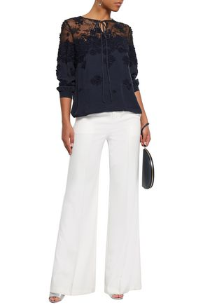OSCAR DE LA RENTA Lace-paneled embroidered washed-silk blouse