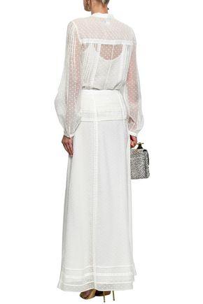 OSCAR DE LA RENTA Lace-trimmed pintucked fil coupé silk blouse