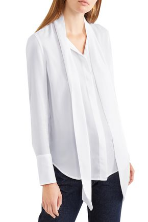 EQUIPMENT Luis tie-neck washed-silk blouse