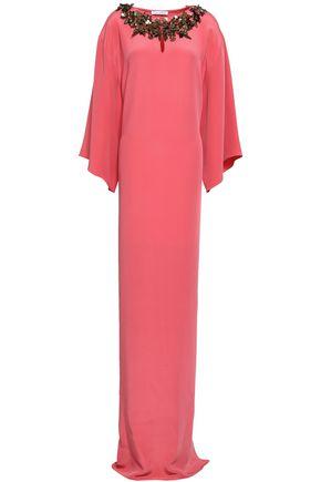 OSCAR DE LA RENTA Fluted floral-appliquéd silk gown