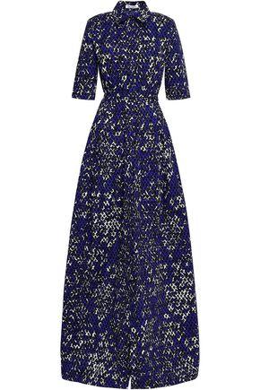 OSCAR DE LA RENTA Flared printed stretch-cotton poplin gown